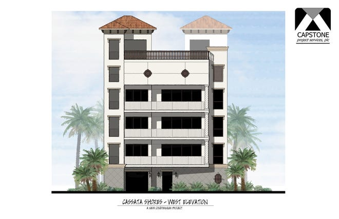 This rendering shows the Gulf-front side of Cassata Shores, a three-story condominium that features one residence on each floor and a rooftop pool. The structure would replace a defunct convenience store.