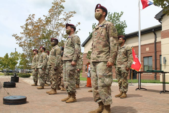 Paratroopers with the 3rd Brigade Combat Team, 82nd Airborne Divison received either Purple Heart medals or Army commendation medals with valor devices during an awards ceremony Friday on Fort Bragg. The paratroopers were deployed to Afghanistan between July 2019 to April this year.