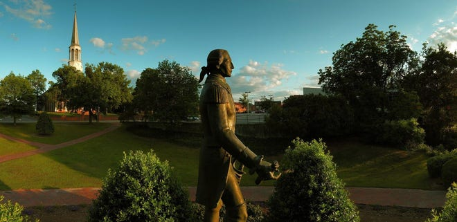 This 2006 file photo shows the statue of the Marquis de Lafayette at Cross Creek Park in downtown Fayetteville.