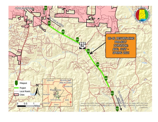 Work starts Monday on a project to resurface a 5.34-mile stretch of U.S. Highway 82 in Tuscaloosa County between Greenwood Circle and Duncanville Middle School Road.