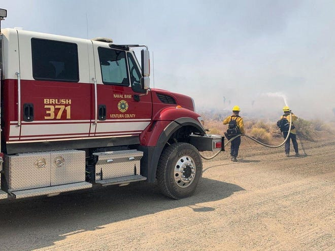 NAWS China Lake first responders fight back the North Range Fire on Friday, Aug. 21, 2020.