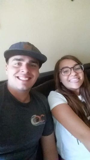 Austin Faux, left, and Tristyn Madole smile while taking a selfie in this undated photo. Authorities said Madole, 17, of Victorville, was killed in a multi-vehicle crash Tuesday, April 28, 2020.