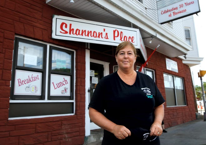Shannon Hardy, owner of Shannon's Place, a diner on Route 1 in Pawtucket near the Attleboro line, whose business has been hit by the travel restrictions.
