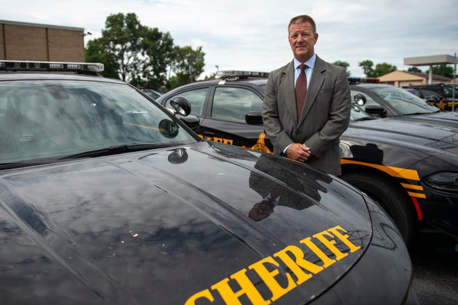 Bruce Hoffbauer, candidate for Hamilton County Sheriff, poses for a portrait at the Hamilton County Sheriff's Office Patrol Headquarters in Mount Healthy on Friday, Aug. 28, 2020.