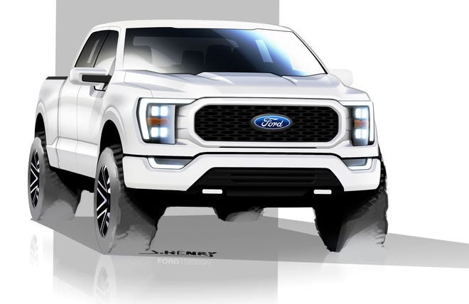 A sketch of the 2021 Ford F-150 drawn by Josh Henry, Ford's senior designer. This image, drawn in 2017, is the final design.