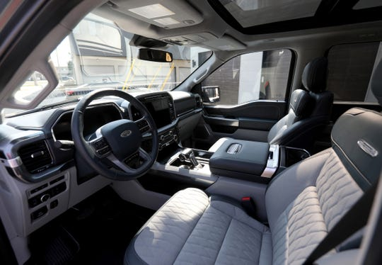 The interior of the 2021 Ford F-150 Limited edition in Ferndale, Michigan on August 27, 2020.