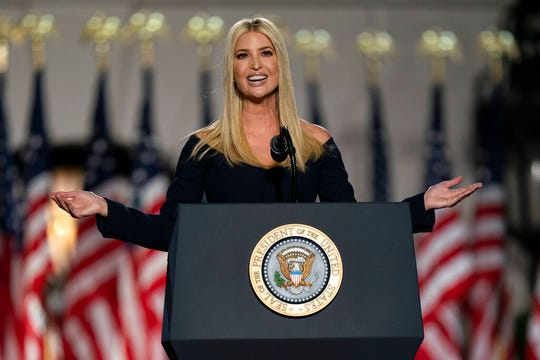 Ivanka Trump at the Republican National Convention on the South Lawn of the White House, Thursday, Aug. 27, 2020.