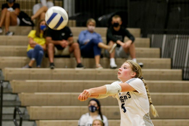 Central Catholic's Kassidy Boener (6) hits the ball during the first set of an IHSAA volleyball game, Thursday, Aug. 27, 2020 in Lafayette.