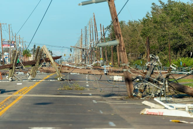 Damage caused by Hurricane Laura on East Mcneese St in Lake Charles, LA. Thursday, Aug. 27, 2020.