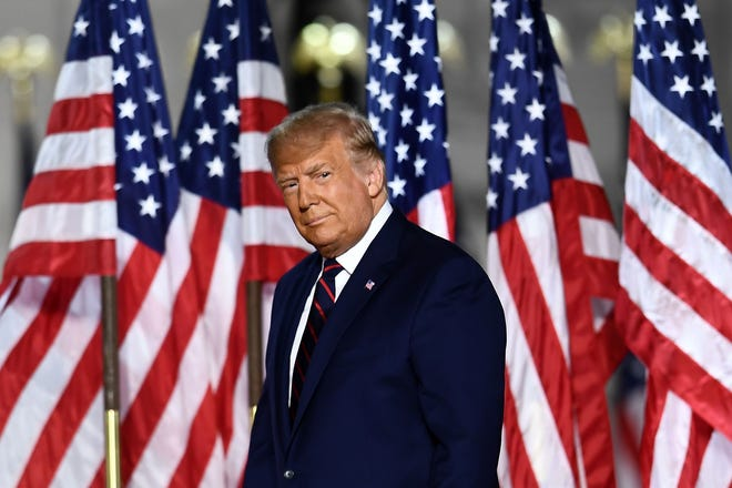 President Donald Trump arrives to deliver his acceptance speech for the Republican Party nomination for reelection during the final day of the Republican National Convention at the South Lawn of the White House.