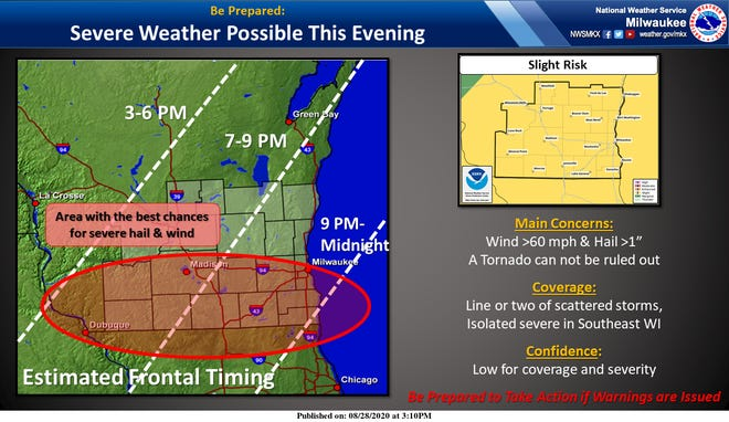 The risk for severe thunderstorms on Friday night has shifted to far southern Wisconsin and northern Illinois.