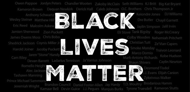 A Black Lives Matter graphic featuring the names of many of Auburn's football players, which has been shared by players on social media.