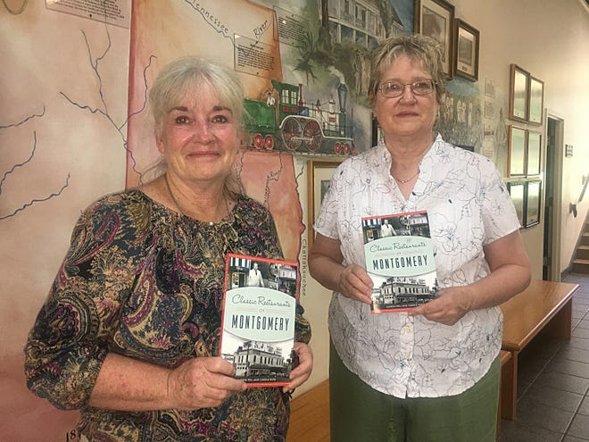 """Carole King, left, and Karren Pell with copies of their new book """"Classic Restaurants of Montgomery."""""""