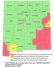 A New Mexico map with counties color coded by average daily cases and test positivity rates, as presented by the state Human Services Department during a news conference on Thursday, Aug. 27, 2020.