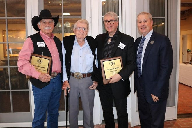 "Left to right: 2018 Rounders Award recipient and artist Robert ""Shoofly"" Shufelt, Max Evans, 2018 Rounders Award recipient and weaver Irvin Trujillo, and New Mexico Agriculture Secretary Jeff Witte."