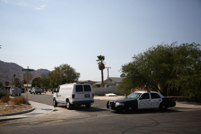Police investigate a shooting on Bon Air Drive in Desert Highland Gateway Estates is pictured on Thursday, August 27, 2020 in Palm Springs, Calif.