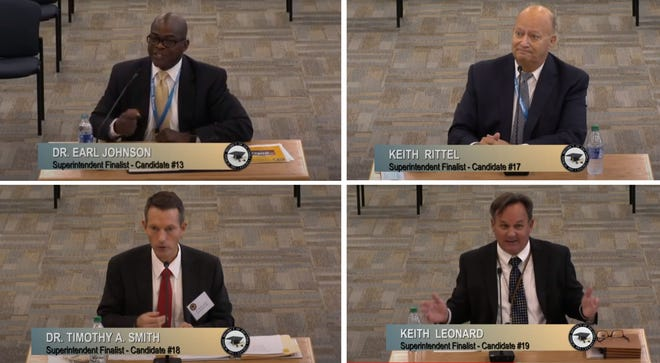 Escambia County Schools superintendent finalists, Earl Johsnon, Keith Rittel, Timothy Smith and Keith Leonard interview before the school board on Thursday, Aug. 28.