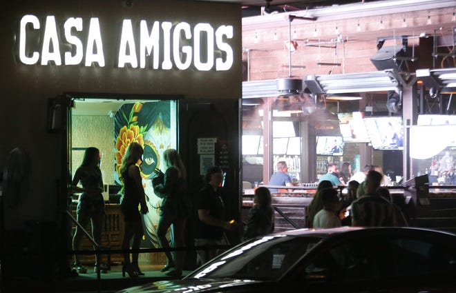 A line forms during the first day of reopening at CASA Amigos in Scottsdale on Aug. 27, 2020.