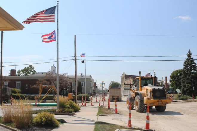 Work continues on a $9.21 million sewer separation project along Church Street near downtown Oak Harbor.