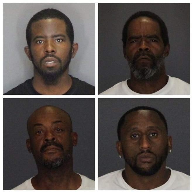 Top left clockwise: Detroit residents Jeffrey Moss, 31, Gregg Smith, 53, Steven Gray, 37, and Sean Fowlkes, 49, were arraigned in St. Clair County Friday. They are charged with conducting a criminal enterprise and more, according to Port Huron Police Department.