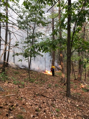 First responders battle a 4.6 acres fire at Mohonk Preserve mountain ridge on Aug. 27, 2018.