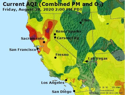 Air quality map for Nevada and California as of 2 p.m. on Friday, August 28, 2020.