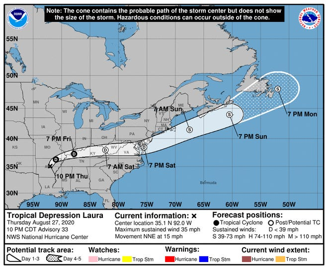 The path of Tropical Depression Laura as of Aug. 28, 2020.