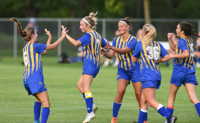 Cathedral senior Caroline O'Driscoll celebrates after scoring the game-tying goal with under two minutes to play Thursday, Aug. 27, 2020, at Whitney Park. Cathedral tied Little Falls 1-1.