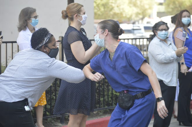 """Kaweah Delta Health Care District bid farewell to its special military medical team on Thursday afternoon with """"Operation: MilitarySalute."""""""