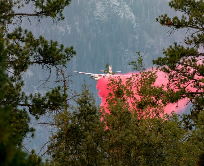 Aerial fire crews attack the Sequoia Fire on Thursday, August 27, 2020. The Sequoia Fire has burned more than 20,000 acres in the Golden Trout Wilderness area.