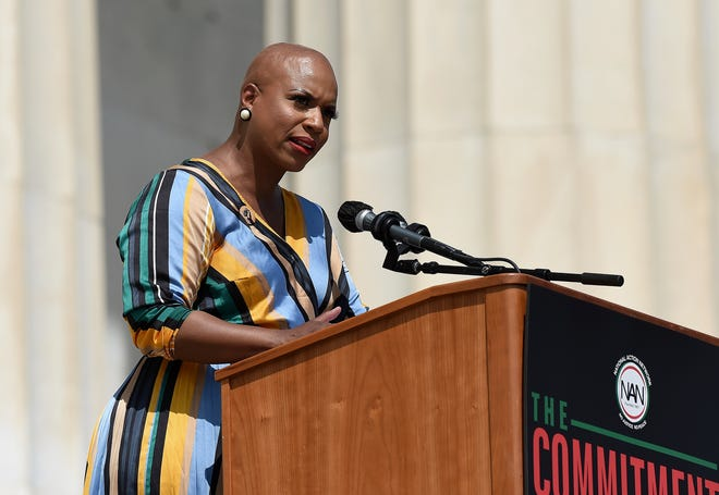 """Rep. Ayanna Pressley, D-Mass., speaks during the March on Washington, Friday Aug. 28, 2020, in Washington, on the 57th anniversary of the Rev. Martin Luther King Jr.'s """"I Have A Dream"""" speech."""