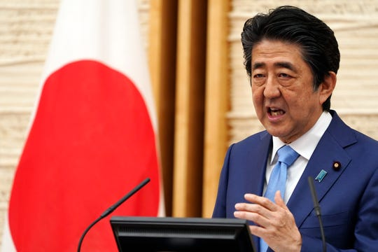 Japan Prime Minister Shinzo Abe speaks during a press conference in Tokyo on May 4.