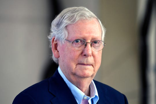 Senate Majority Leader Mitch McConnell, R-Ky., waits for his introduction during a visit to the Beaver Dam Ampitheater in Beaver Dam, Ky., Tuesday, Aug. 25, 2020. (AP Photo/Timothy D. Easley) ORG XMIT: KYTE107