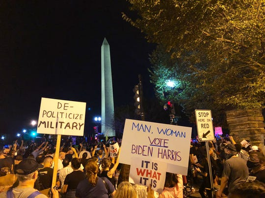 Crowds gather between the White House and National Mall during President Trump's speech on the final night of the Republican convention.