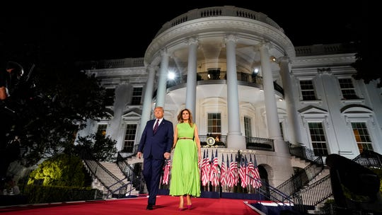 President Donald Trump and first lady Melania Trump at the Republican National Convention at the White House on Aug. 27, 2020.
