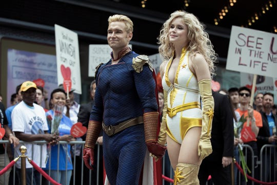 "Antony Starr as Homelander and Erin Moriarty as Starlight in ""The Boys."""