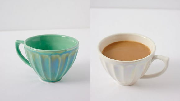 Sip in style with these iridescent latte cups.