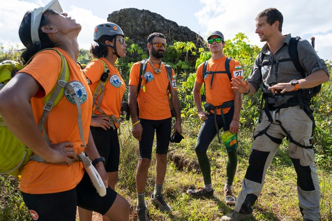 Bear Grylls and Team Khukuri Warriors from India (team members Tashi Malik, Nungshi Malik, Brandon Fisher, Praveen Singh Rangar and VS Malik) during the 2019 Eco-Challenge adventure race in Fiji.