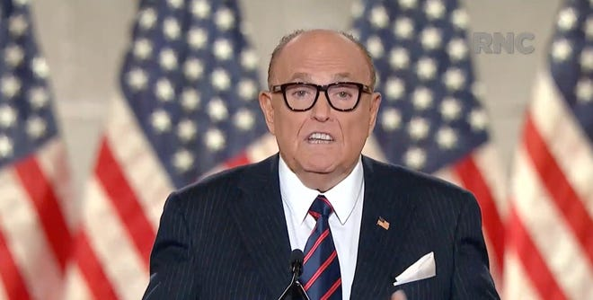 August 27, 2020; Washington, D.C., USA; ( Editors Note: Screen grab from Republican National Convention video stream) Former New York City Mayor Rudy Giuliani, speaks during the Republican National Convention at the Mellon Auditorium in Washington, D.C. Mandatory Credit: Republican National Convention via USA TODAY NETWORK (Via OlyDrop)
