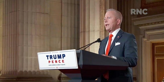 Rep. Jeff Van Drew of New Jersey speaks during the Republican National Convention at the Mellon Auditorium in Washington, D.C.
