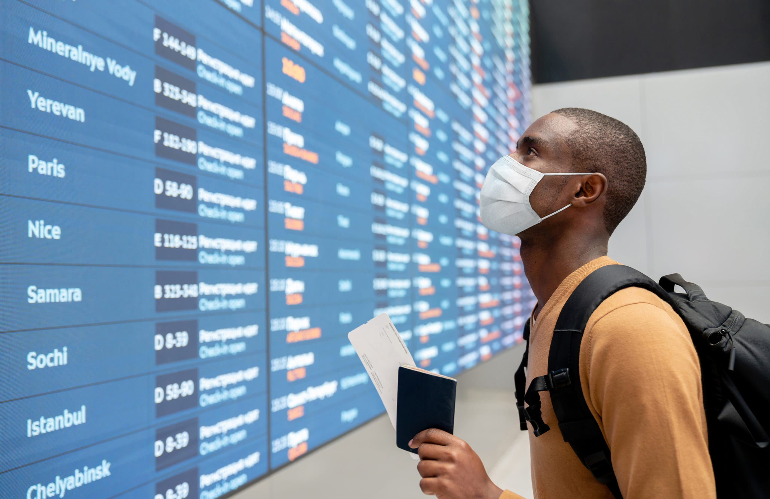 Passengers are required to wear a mask while flying on a plane for all major U.S. airlines and at the airport.