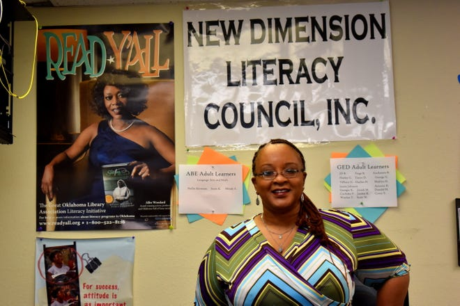 New Dimension Literacy Council Executive Director Mary Finley on Thursday. In the year since becoming a full-time director, Finley has expanded literacy service to Marietta and has now set her sights on Madill.