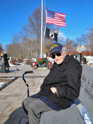 Pearl Harbor survivor Bernard Comito attends the 2018 Pearl Harbor commemoration service at the Veterans Memorial in Smithville. He died on Friday at age 96.