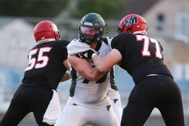 West Burlington-Notre Dame's Ethan Eilers (75) during the first half of Fort Madison High School's season home opener, Friday Aug. 28, 2020 at Fort Madison's Richardson Stadium.