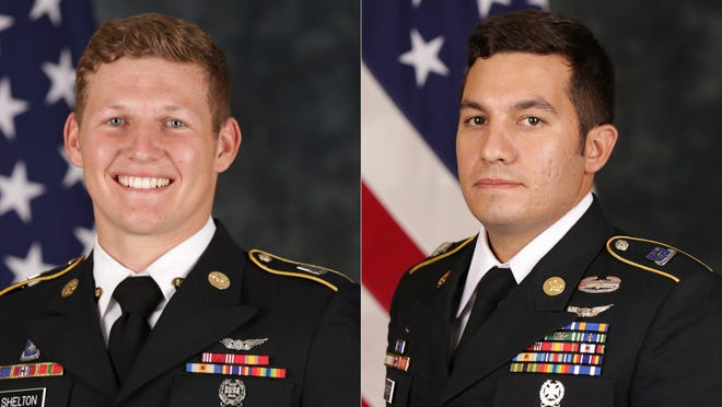 "Sgt. Tyler M. Shelton, 22, of San Bernardino, California, left, and Staff Sgt. Vincent P. Marketta, 33, of Brick, New Jersey, died Thursday from injuries ""sustained during an aircraft mishap while conducting aviation training,"" according to a U.S. Army Special Operations Command statement."