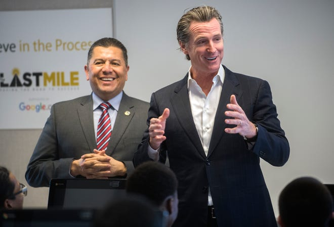 California Gov. Gavin Newsom, right, with Secretary of the California Department of Corrections and Rehabilitation Ralph Diaz during a visit to attend the grand opening of the Code.7370 computer coding training program at the O.H. Close Youth Correctional facility in Stockton in 2019.
