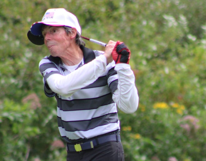 Dave Pife of Garrettsville competes in the first round of the Portage County Senior Amateur on Saturday at Sugar Bush Golf Club.