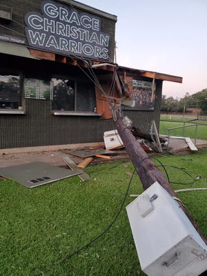 A transformer took out the roof of the concession stand at Grace Christian's Merrill Blackburn Field after Hurricane Laura passed through Central Louisiana. Wind gusts as high as 86 miles per hour were recorded at Alexandria International Airport just less than a mile away.