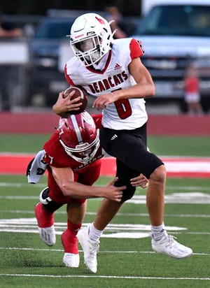 Ballinger wide receiver Weston Rollwitz is tackled by a Jim Ned defender during Friday's game in Tuscola August 28, 2020. Final score was 20-14, Ballinger.