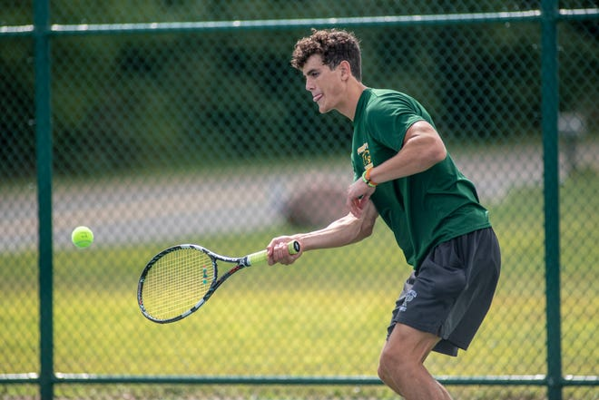Pennfield's Gavin Liggett competes in the All-City Boys Tennis Tournament on Saturday, Aug. 29, 2020 at Lakeview High School.